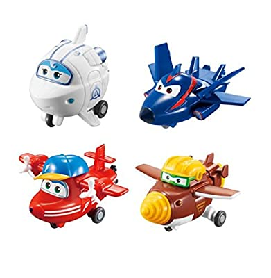 "Super Wings - Transform-a-Bots 4 Pack | Flip, Todd, Agent Chase, Astra | Toy Figures | 2"" Scale"