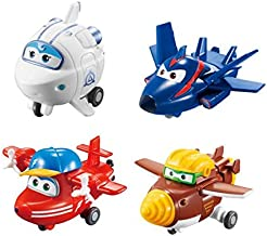 Super Wings - Transform-a-Bots 4 Pack | Flip, Todd, Agent Chase, Astra | Toy Figures | 2