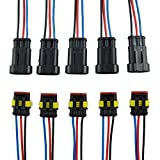 ZYTC 3 Pin Way Car Waterproof Wire Connector Plug Auto Electrical Wire Connectors AWG Terminal Pack of 5