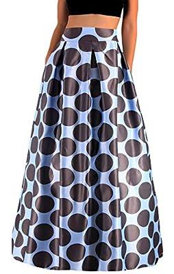 Novia's Choice Women Floral Print High Waist Stretch Maxi Skirt Long Beach Skirt with Drawstring