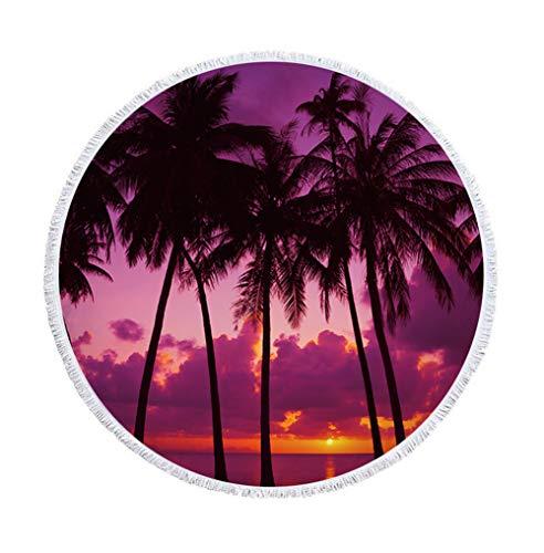 Sticker Superb Hermoso Toalla de Playa Redonda con Borla Grande 60 Pulgadas Cortina Estera de Yoga Manta de Playa para Niños Mujer y Hombre Verano (A Orillas del Mar, 150 cm)