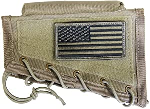 M1SURPLUS Tan Rifle Cheek Rest + USA Patriot Flag Morale Patch Fits Ruger PC4 PC9 PC Carbine 22 10/22 77/22 Gunsite Scout N0.1 Hawkeye M77 77/22 Mini14 Mini30 American Ranch Rifle