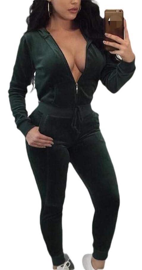 鉛筆変える毎年女性ソリッドカラートラックスーツセットフルジップフーディとロングパンツ2ピースの衣装