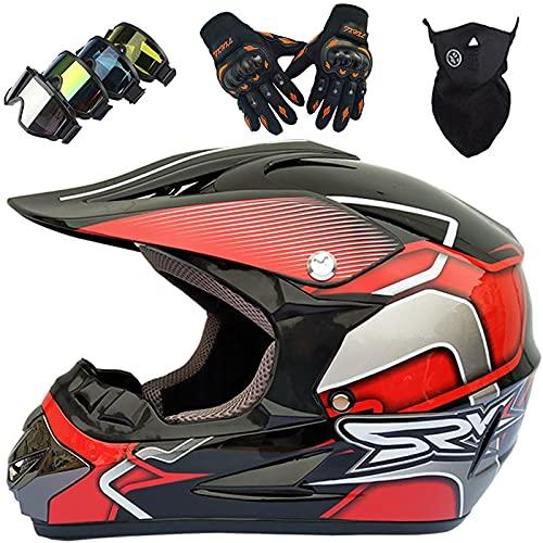 KILCVEM Casco de MTB de cara completa, juego de casco de moto para niños con gafas de guantes, máscara, casco de motocicleta para moto de cross, downhill Enduro Off Road – Tamaño: S-XL/52-59 cm, rojo