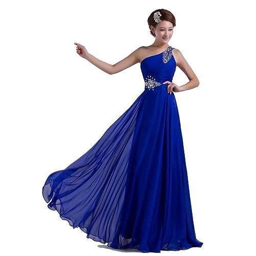 d05189726d4c DLFASHION One-shoulder Floor Length Beaded Chiffon Prom Dress