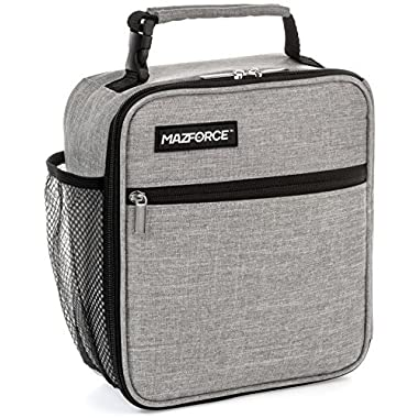 MAZFORCE Original Lunch Box Insulated Lunch Bag - Tough & Spacious Adult Lunchbox to Seize Your Day (Wolf Grey - Lunch Bags Designed in California for Men, Adults, & Women)