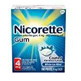 Nicorette 4mg Nicotine Gum to Quit Smoking - Ice Mint Flavored Stop Smoking Aid, Ice Mint, White White Ice Mint 100 Count (Pack of 1)