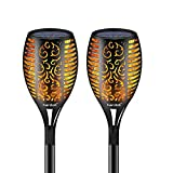 Hardoll Solar Lights for Home Outdoor Garden Waterproof Flickering Flames Torches Lights for Decoration (Pack of 2), Black