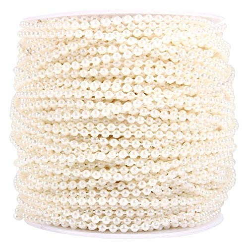 50M Roll 3mm Fishing Line Pearls String Beads Chain Garland Wedding Decoration Centerpieces (Color : Beige)