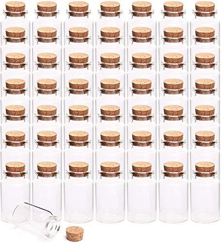 Lawei Lot de 50 mini bocaux en verre de 20 ml avec bouchons en liège - Bouteilles de rangement transparentes pour les loisirs créatifs, la décoration, le bricolage, les cadeaux de fête