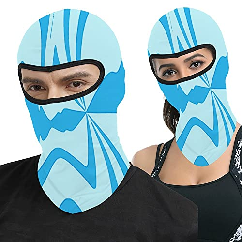 Light Blue and Teal Blue Abstract Sound Wave Full Face Ma-sk Hood Headwear Breathable Balaclavas for Outside Sports Hunting Cycling Motocycling Men Women