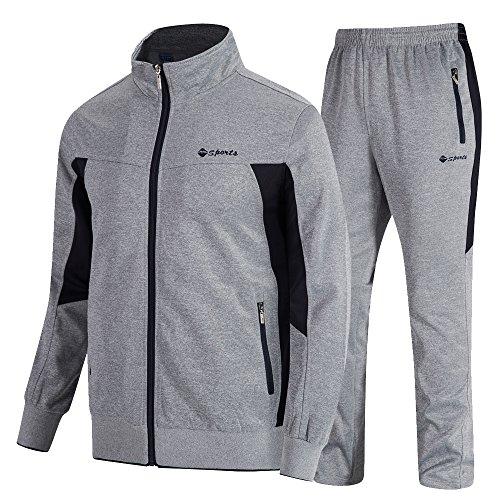donhobo  Herren Jogginganzug Trainingsanzug Sportanzug Fußball Sporthose Hoodie Hose für Gym Warm Tracksuit, XXL, 02grau