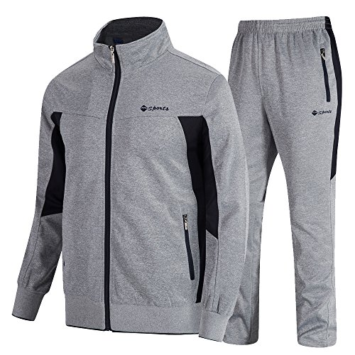 donhobo Herren Jogginganzug Trainingsanzug Sportanzug Fußball Sporthose Hoodie Hose für Gym Warm Tracksuit(02Grau,L)