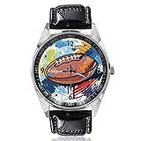 Montre bracelet ballon de rugby design personnalisé montre à quartz analogique cadran argent classique bracelet en cuir pour homme et femme