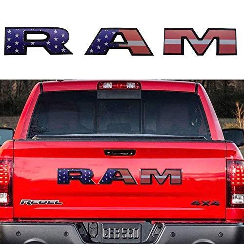 L&U Heckklappen-RAM Letters Abzeichen Schilder Autoaufkleber für Dodge Ram 1500 2500 3500,Americanflag
