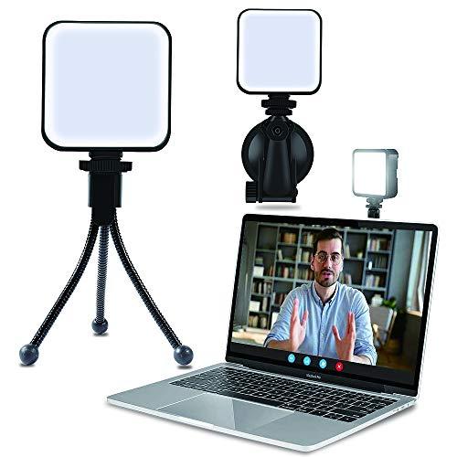 Kit de iluminación de videoconferencia, luz para portátil videoconferencias con trípode y ventosa para trabajo remoto   Reunión Zoom   Transmisión automática   Transmisión en vivo   Fotografía