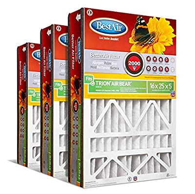 """BestAir AB1625-11R AC Furnace Filter, 16"""" x 25"""" x 5"""", MERV 11, Fits 100%, For Trion Air Bear, Supreme, Skuttle, GeneralAire, Source1 & Ultravation Models, Pack of 3"""
