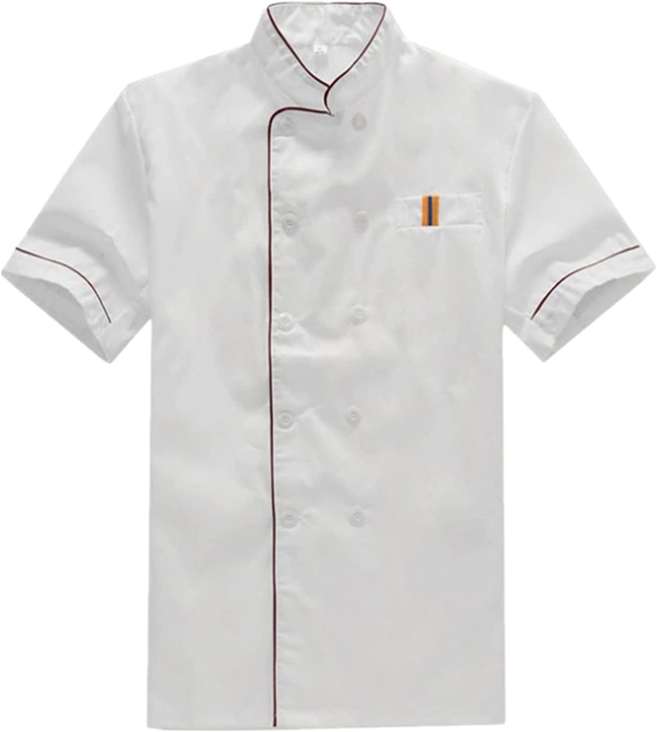 MSemis Unisex Chef Popular Special price for a limited time products Jacket Men's Short Che Sleeve Double-breasted