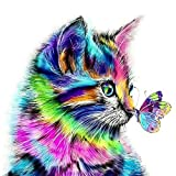 HQdeal 30 * 30cm DIY 5D Diamante Pintura Kits, Gato y Mariposa 5D Diamond Painting Completo Bordado Punto de Cruz Diamante Craft Decoración del hogar (A)