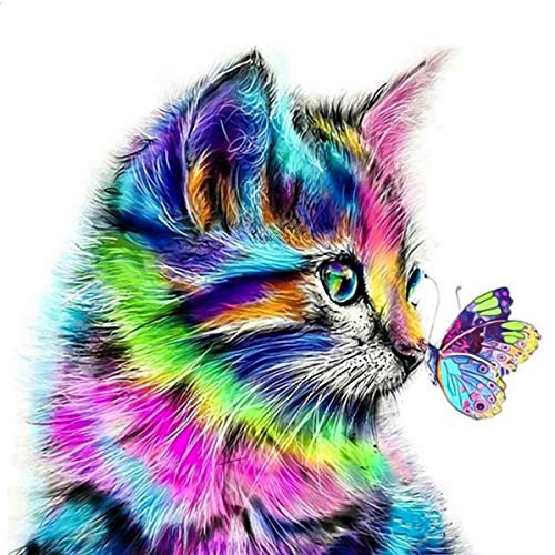 NATUCE 30 * 30cm DIY 5D Diamante Pintura Kits, Gato y Mariposa 5D Diamond Painting Completo Bordado Punto de Cruz Diamante Craft Decoración del hogar