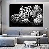 KWzEQ Cartel de Tigre Blanco y Negro Moderno Animal Print sobre Lienzo decoración del hogar decoración de la Sala de Estar,Pintura sin Marco,60x90cm