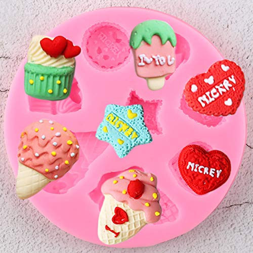 UNIYA Ice Cream Cupcake Silicone Molds 3D Heart Candy Clay Chocolate Moulds  Birthday Cupcake Topper Fondant Cake Decorating Tools
