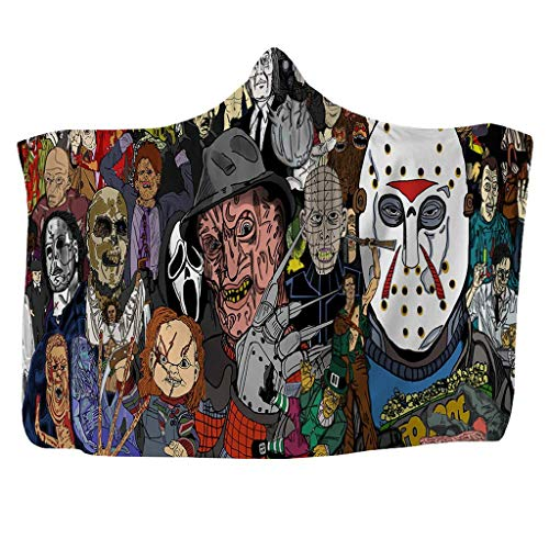 ALZERO Hooded Blanket, Horror Mysterious Character Hooded Blanket for Adult Gothic Sherpa Fleece Wearable Throw Blanket Microfiber Bedding (59x51inch, G)