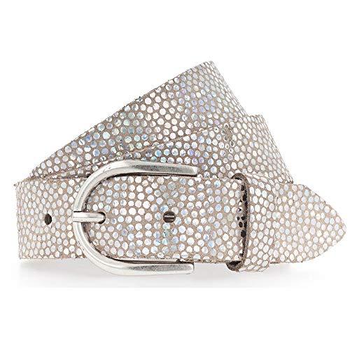 Vanzetti Mädchengürtel, Leder, Glitzeroptik, Breite: 3 cm, Silber, 70 cm