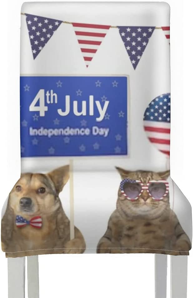 Chair Covers Award-winning store for Dining Roo 2pcs Happy Holds Sign In Dog Patriot Gorgeous