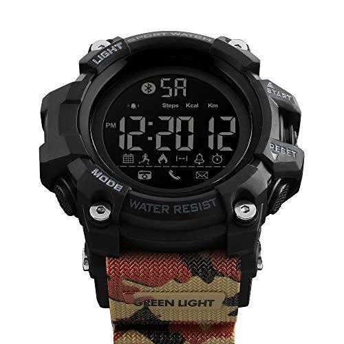 Msxx Bluetooth Smart Watch, Neues Upgrade Outdoor Tactical Adventure Wandersport Multi-Function Step Reminder Watch, Wild Survival Watch,Camouflage