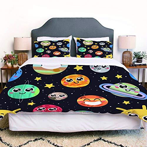 LENYOVO Juego de Funda nordica,Ropa de Cama,Funny Cartoon Smiley Sun Moon Pluto and Planets On Space,Microfibra,Edredon 140x200cm con 2 Fundas de Almohada 50x80cm