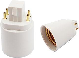 2pcs E-Simpo 4Pin Gx24q to E26/E27 Light Socket Adapter Lamp Base Converter. NOT PLUG AND PLAY, Need Rewire to Bypass Ball...