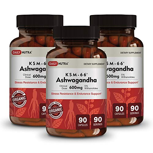 KSM-66 Ashwagandha by DailyNutra - 600mg Organic Root Extract - High Potency Supplement with 5% Withanolides   Stress Relief, Increased Energy and Focus (3-Pack)