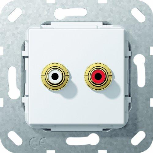 Gira 5632 03 Einsatz Cinch Audio 563203 Lötanschluss reinweiss, Weiß