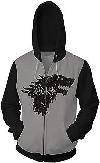 Game of Thrones Jon Snow House Stark Direwolf Hoodies Sweatshirt Costume Night's King Zipper Jacket Coat