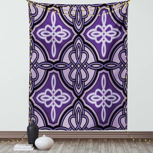 Ambesonne Celtic Tapestry, Unique Celtic Knot with Swirling and Twisted Line Details Print, Wall Hanging for Bedroom Living Room Dorm Decor, 40' X 60', Violet Lilac