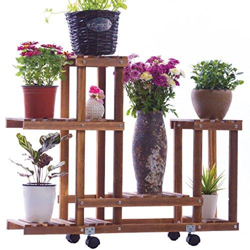 SILOLA Blumenregale aus Holz, Balkone Bodenbelag Holzständer, Blumenleiter im Innen- und Außenbereich, Pflanzenregale und Bonsai-Rahmen Dekorative Blumenleiter für den Außenbereich im Freien