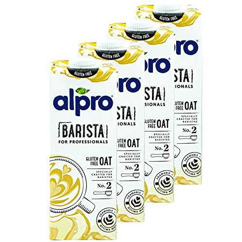 Alpro - 4er Pack Haferdrink Barista for Professionals 1 Liter - Oat Hafer Drink 100 % pflanzlich zum Aufschäumen für Kaffee, Shakes und Smoothies