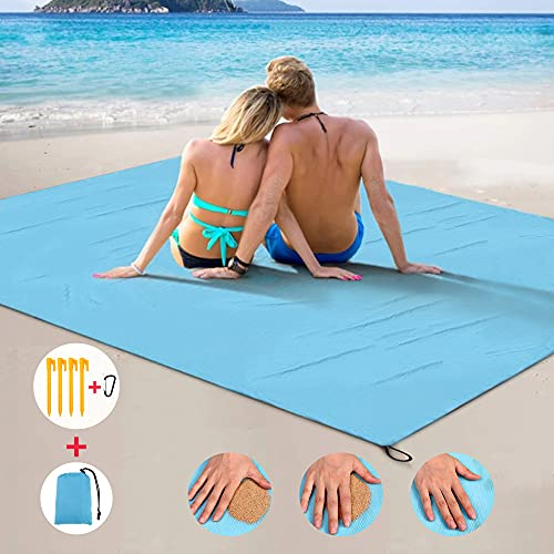 """Sand Free Beach Blanket Oversized 83"""" X79"""" Best Sand Proof Beach Blanket Outdoor Picnic Mat for Travel, Camping, Hiking and Music Festivals Lightweight Quick Drying Heat Resistant (Blue, 83"""" x 79"""")"""