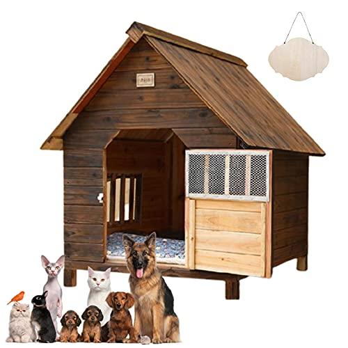 Casetas para Perros Grandes Exterior Impermeables, Caseta de Madera para Perros Gatos, Caseta Perros Exterior con Puerta, Casa Perro Mediano...