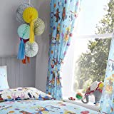 Happy Linen Company Set de Cortinas Infantiles - Estampado de Animales de Circo - Azul/Blanco - 168 x 137 cm