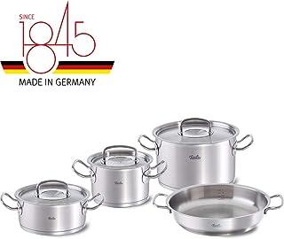 Fissler original-profi collection / Juego de ollas de acero inoxidables, compuesto por 4piezas, con sartén de servicio, apta para cocinas de inducción, gas, vitrocerámica y eléctricas