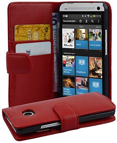 Cadorabo Hülle für HTC ONE M7 in Chili ROT – Handyhülle aus glattem Kunstleder mit Standfunktion & Kartenfach – Hülle Cover Schutzhülle Etui Tasche Book Klapp Style