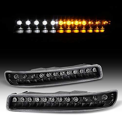 ACANII - For 1999-2006 GMC Yukon Sierra 1500 2500 3500 Black Housing LED Bumper Lights Signal Lamps Driver & Passenger