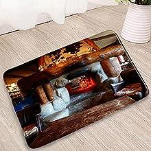 WAXB Felpudos Alfombrilla De Baño con Diseño Navideño Decoraciones Navideñas Decoración De Entrada Felpudos Cocina Dormitorio Alfombras Antideslizantes Alfombras De Bañera-20X32Inch