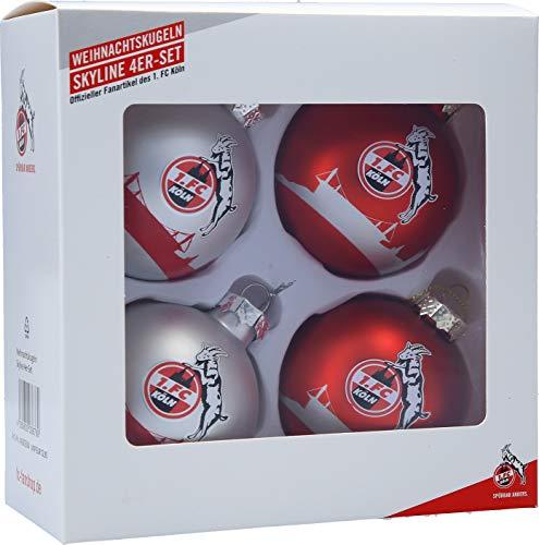 Unbekannt 1. FC Köln Weihnachtskugeln/Christbaumkugeln ** Silber Rot ** 4er - Set