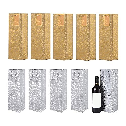 10 Piezas Bolsos de Regalo para Vino, Embalaje Botellas Vino, Bolsas Champán, con Asas Cuerda Resistentes, para Aniversario, Cumpleaños y Festival (Dorado, Plata)