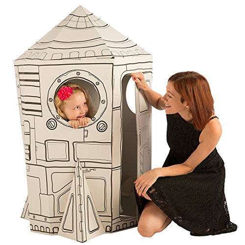 Cardboard Playhouse for Kids to Color - Create an Easy Rocket Ship with Included Markers and Over 40 Glow-in-The-Dark Stickers!