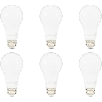 AmazonBasics 100W Equivalent, Soft White, Dimmable, 10,000 Hour Lifetime, A19 LED Light Bulb | 6-Pack