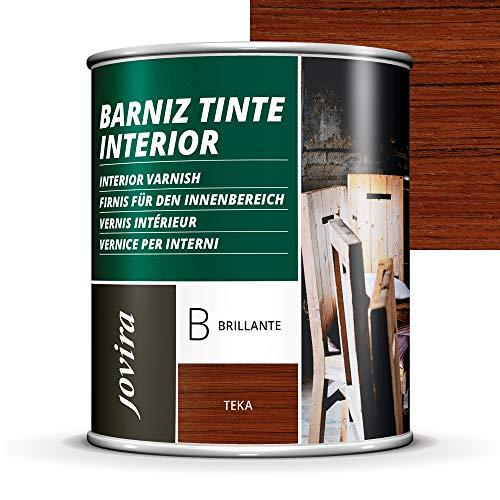 BARNIZ TINTE INTERIOR BRILLANTE, (6 COLORES), Barniz madera, Protege la madera, Decora y embellece la madera. (750 ml, TEKA)